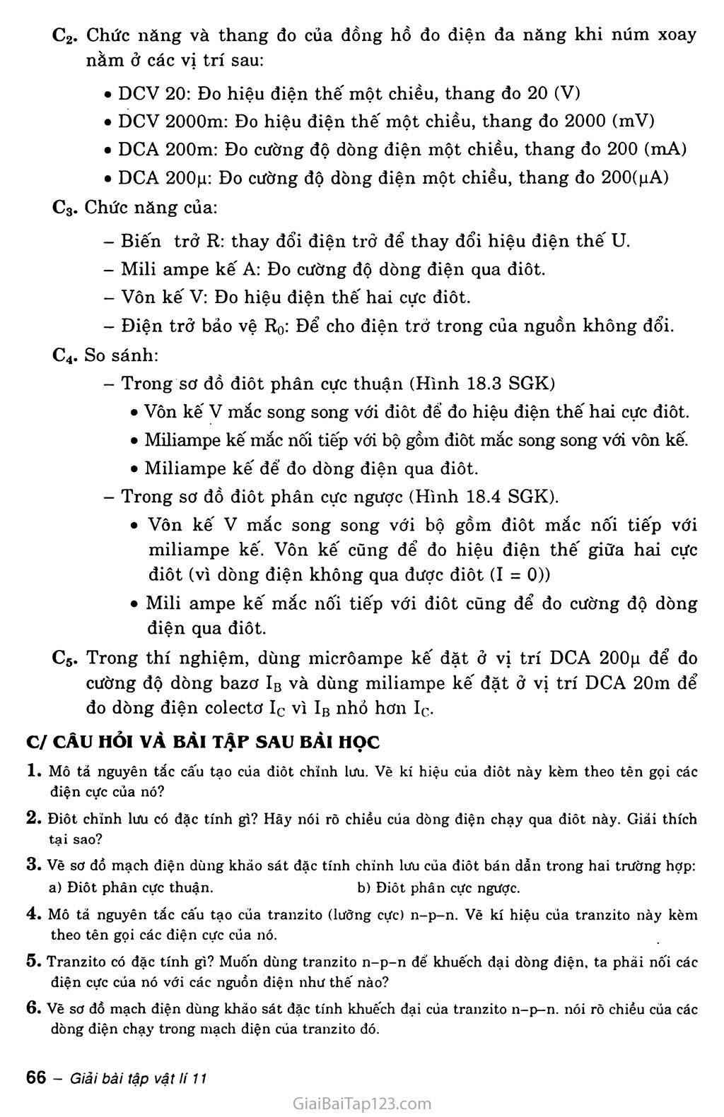 Bài 18. Thực hành: Khảo sát đặc tính chỉnh lưu của điốt bán dẫn và đặc tính khuếch đại của tranzito trang 3