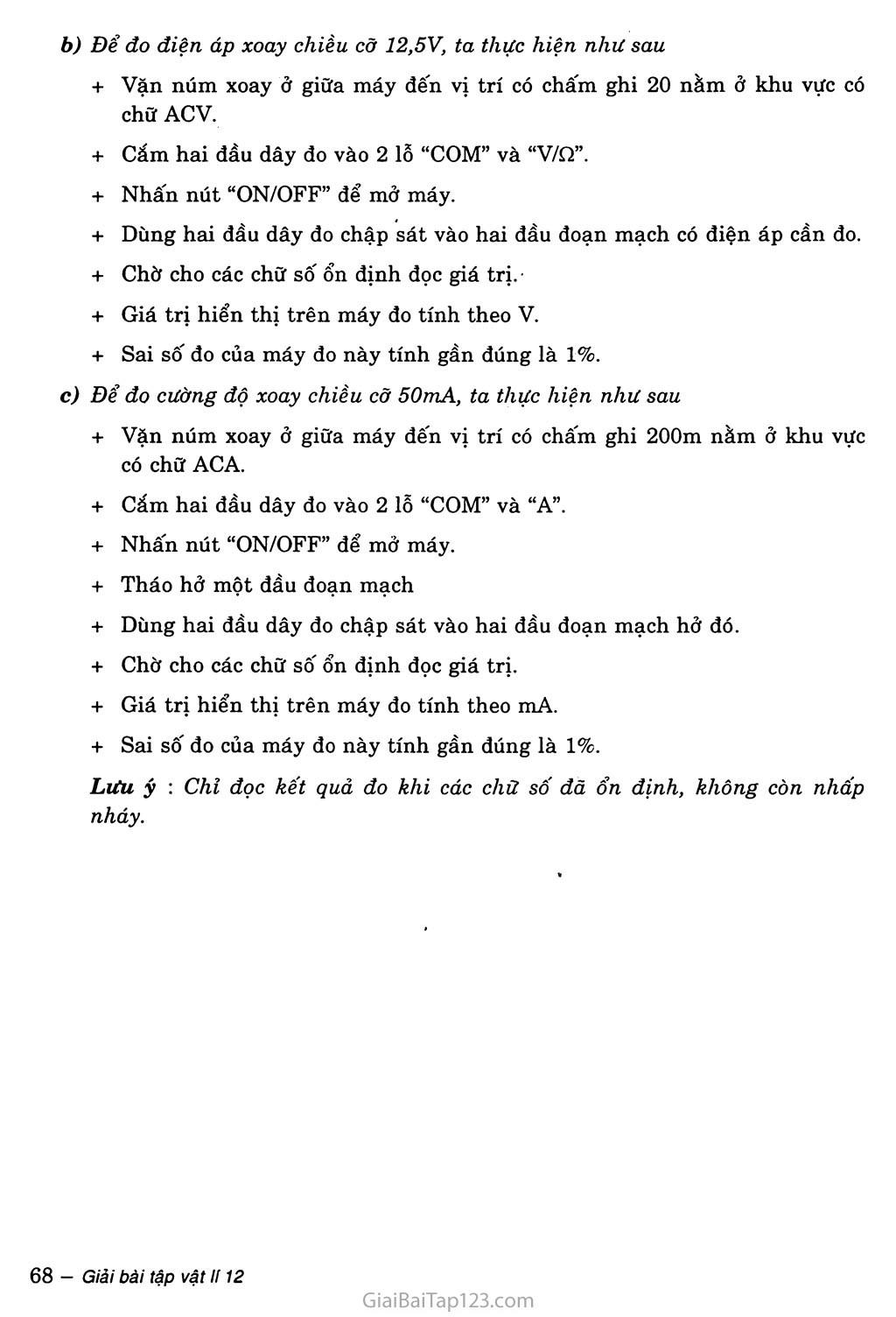 Bài 19: Thực hành: Khảo sát đoạn mạch điện xoay chiều có R, L, C mắc nối tiếp trang 3