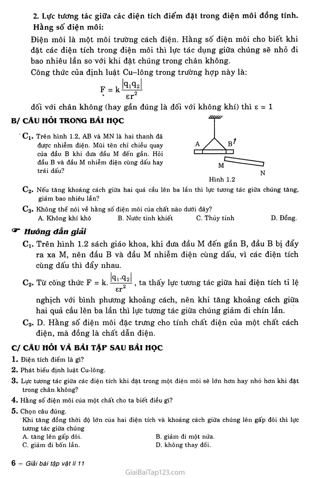 Bài 1: Điện tích. Định luật Cu-lông trang 2