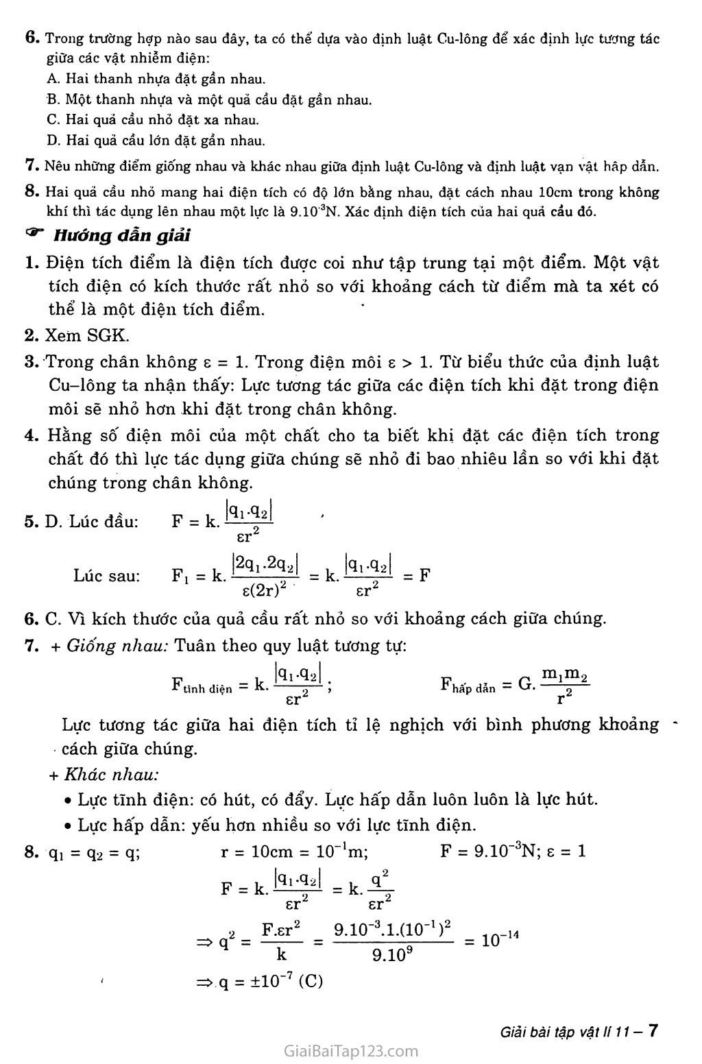 Bài 1: Điện tích. Định luật Cu-lông trang 3