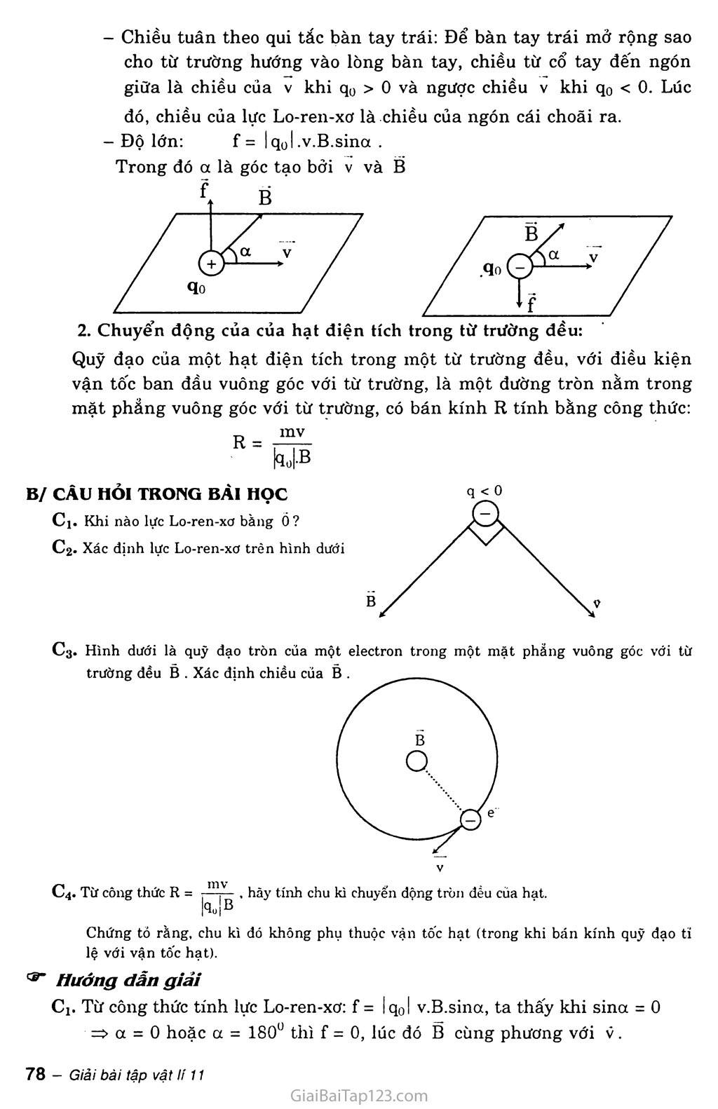 Bài 22: Lực Lo-ren-xơ trang 2