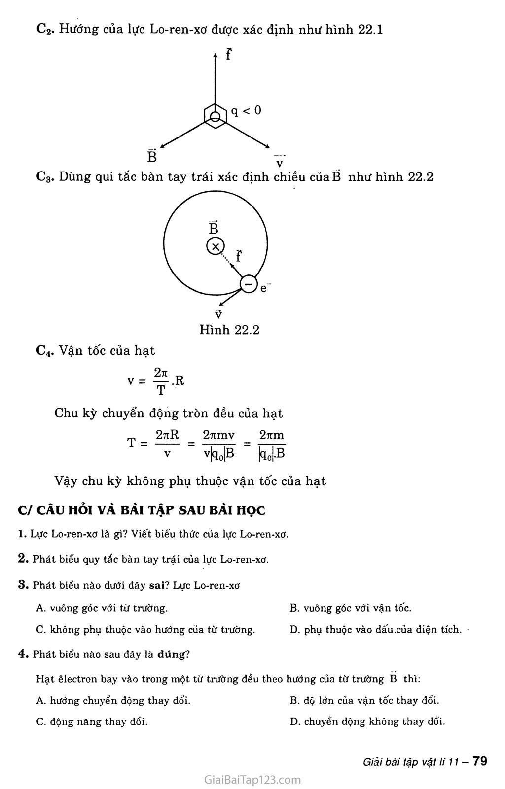 Bài 22: Lực Lo-ren-xơ trang 3