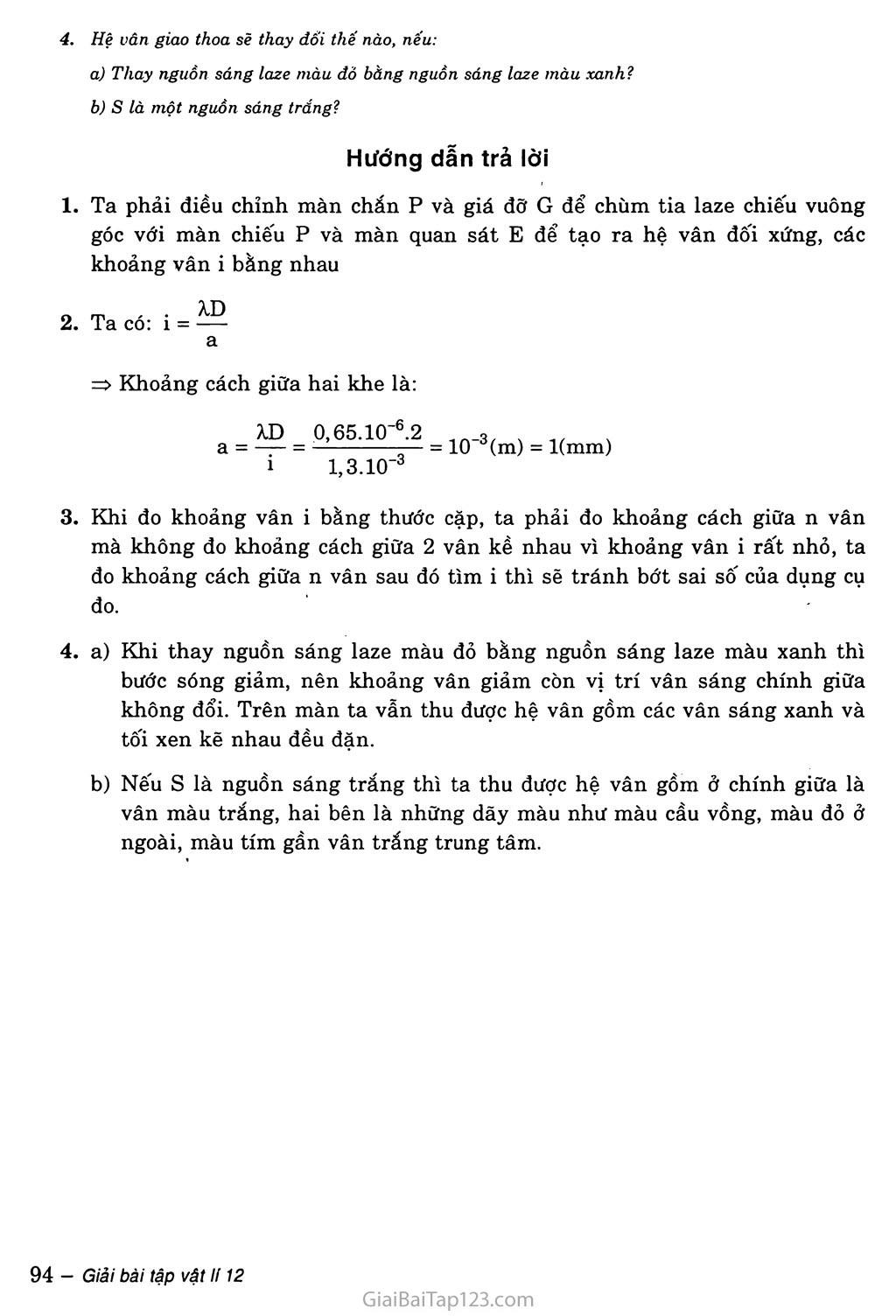 Bài 29: Thực hành: Đo bước sóng sóng ánh sáng bằng phương pháp giao thoa trang 2