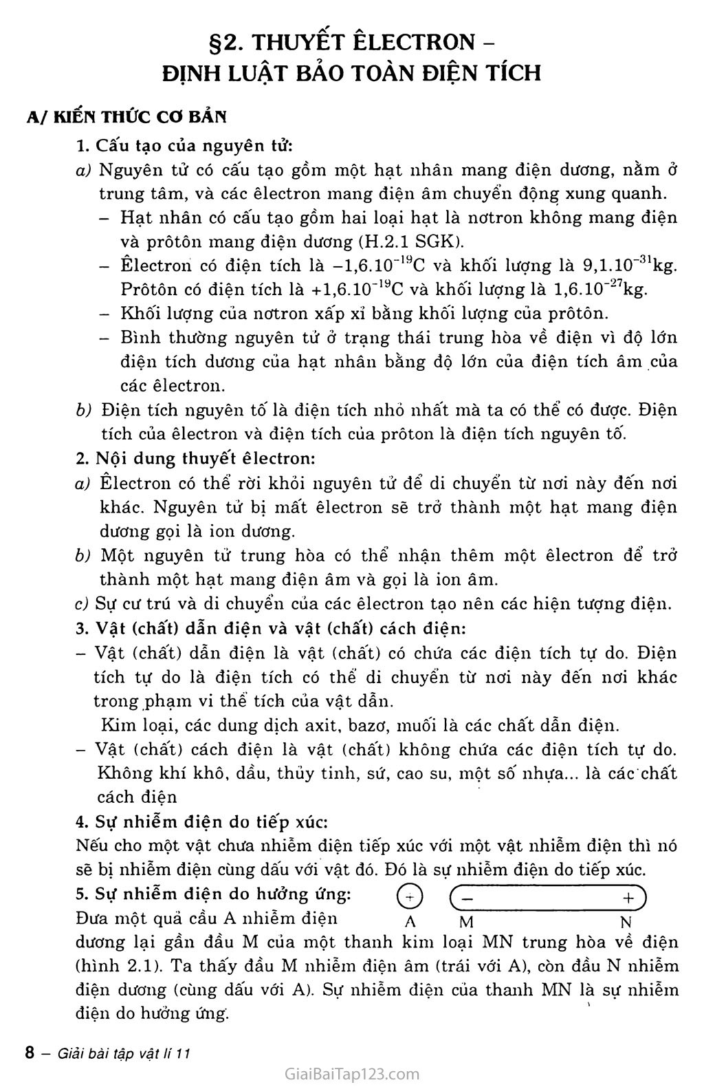 Bài 2: Thuyết electron. Định luật bảo toàn điện tích trang 1