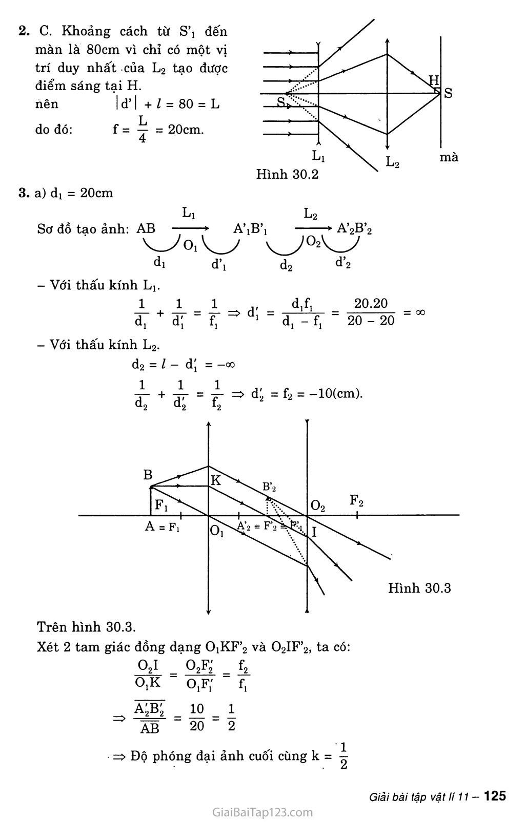 Bài 30: Giải bài toán về hệ thấu kính trang 4