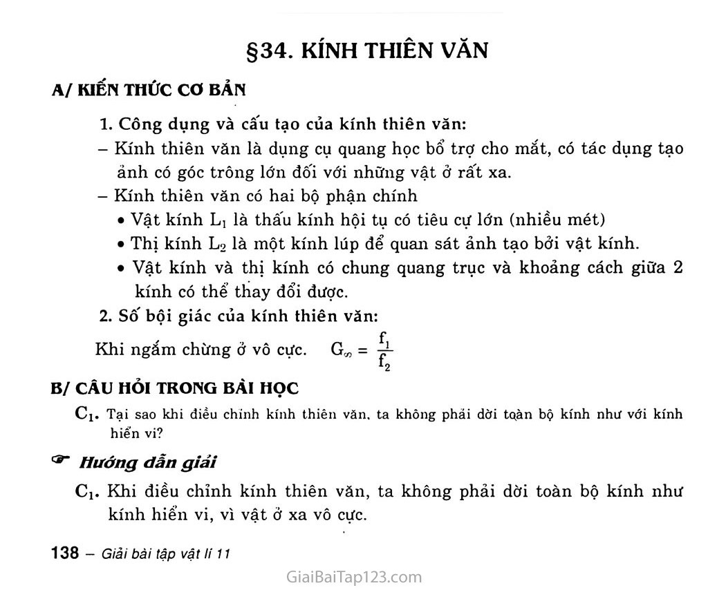 Bài 34: Kính thiên văn trang 1