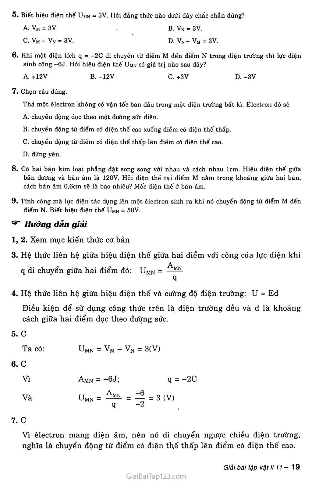 Bài 5: Điện thế. Hiệu điện thế trang 2