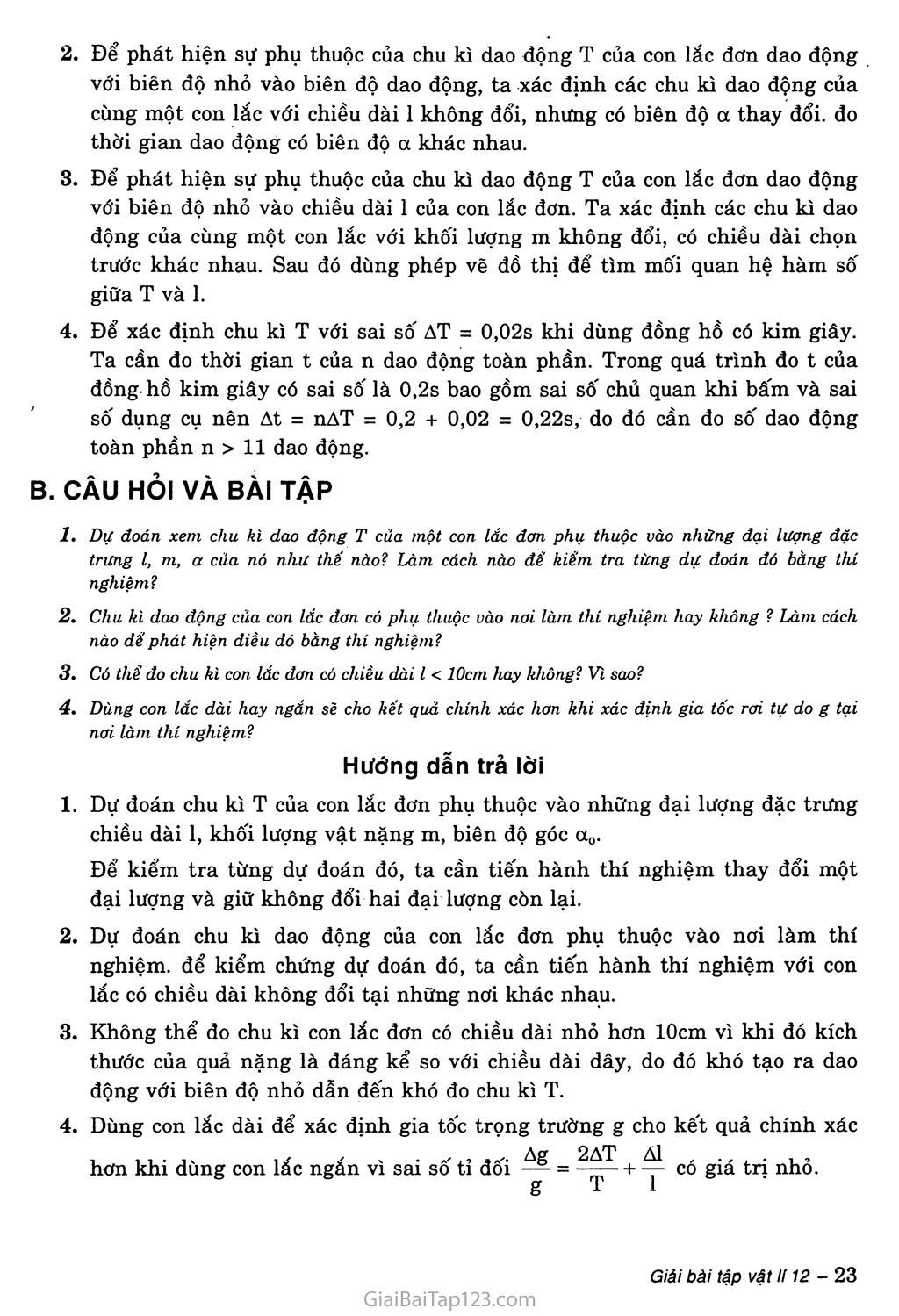 Bài 6: Thực hành: Khảo sát thực nghiệm các định luật dao động của con lắc đơn trang 2