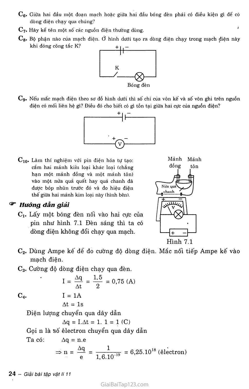 Bài 7: Dòng điện không đổi. Nguồn điện trang 2