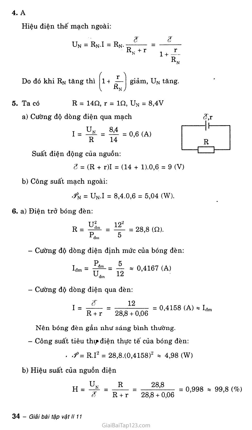 Bài 9: Định luật Ôm đối với toàn mạch trang 4