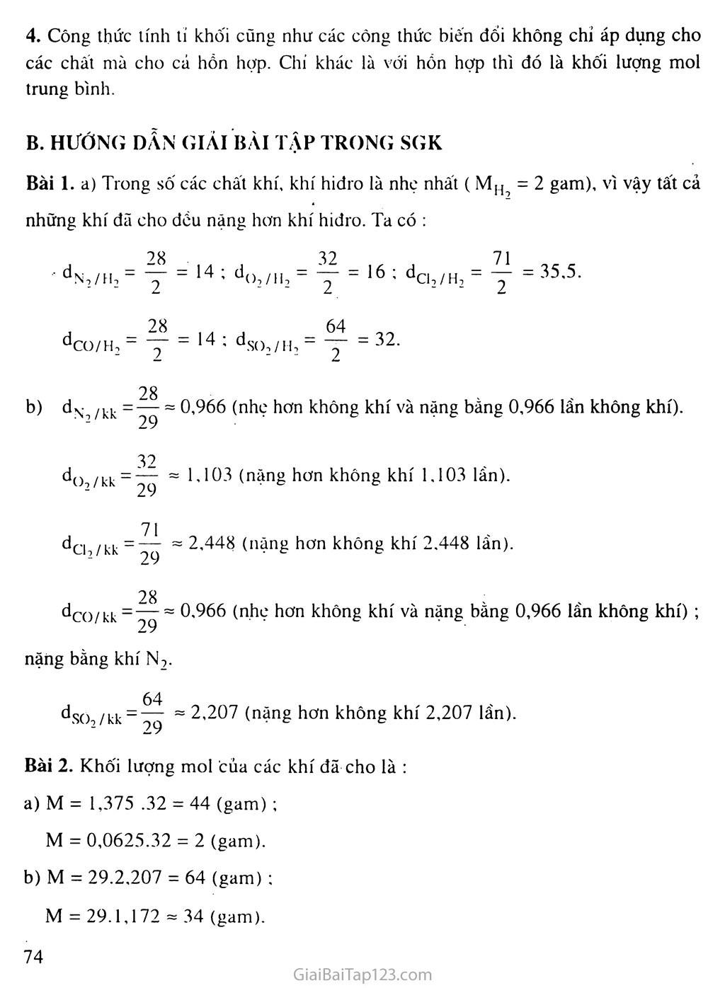 Bài 20: Tỉ khối của chất khí trang 2