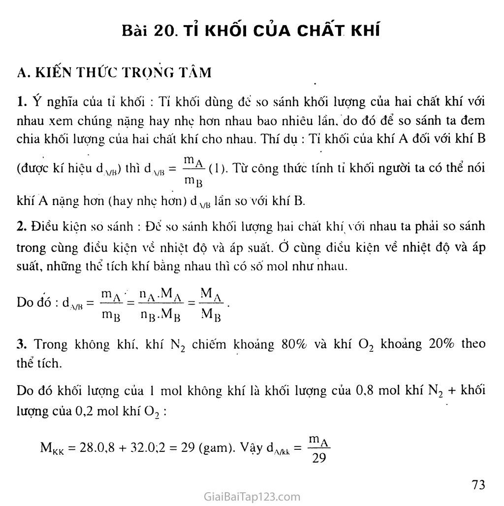 Bài 20: Tỉ khối của chất khí trang 1