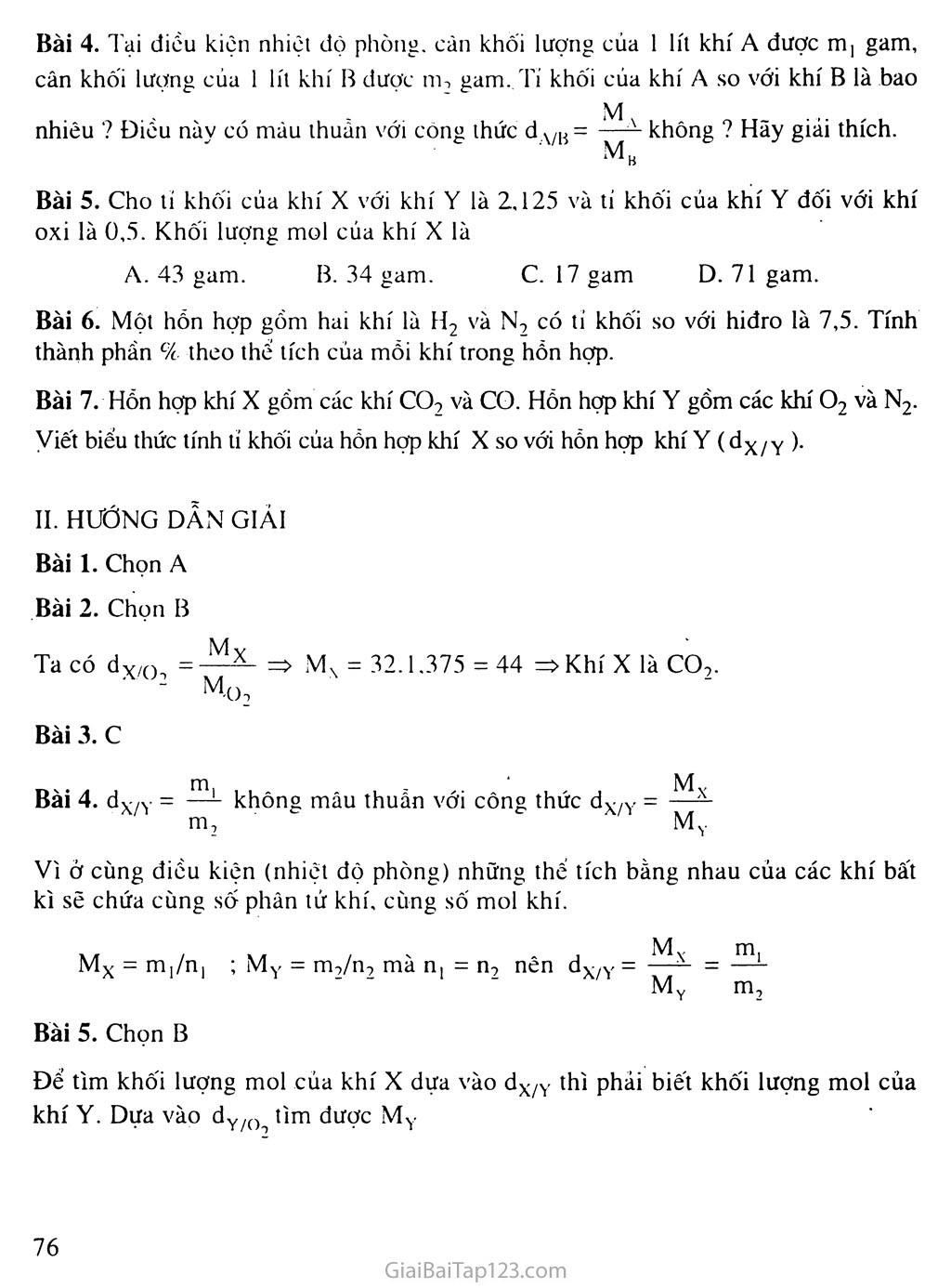 Bài 20: Tỉ khối của chất khí trang 4