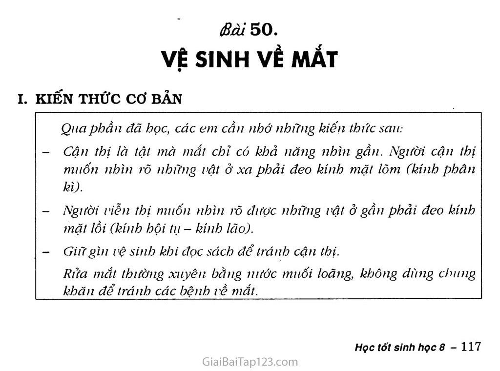 Bài 50: Vệ sinh mắt trang 1
