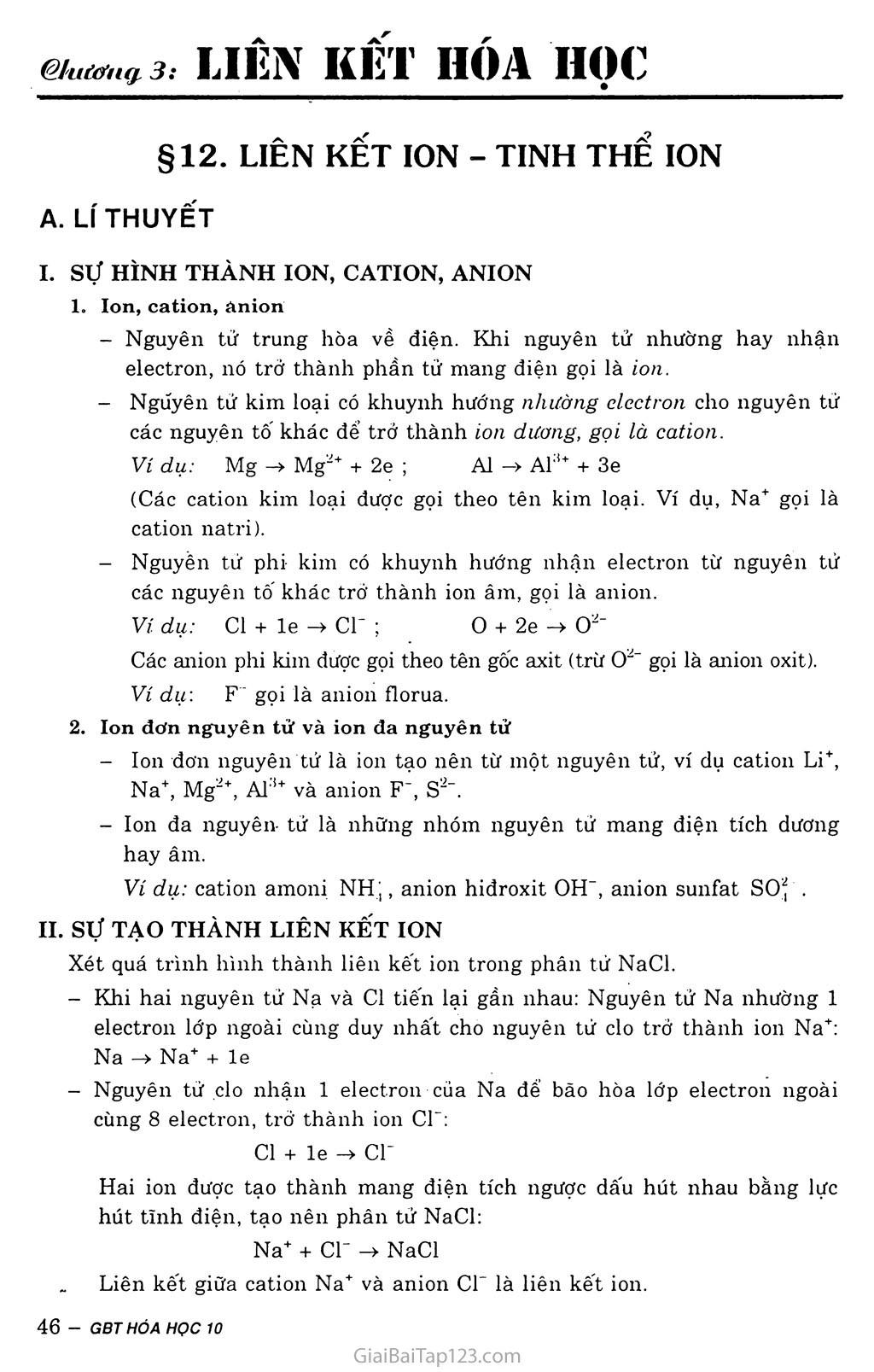 Bài 12:  Liên kết ion - Tinh thể ion trang 1