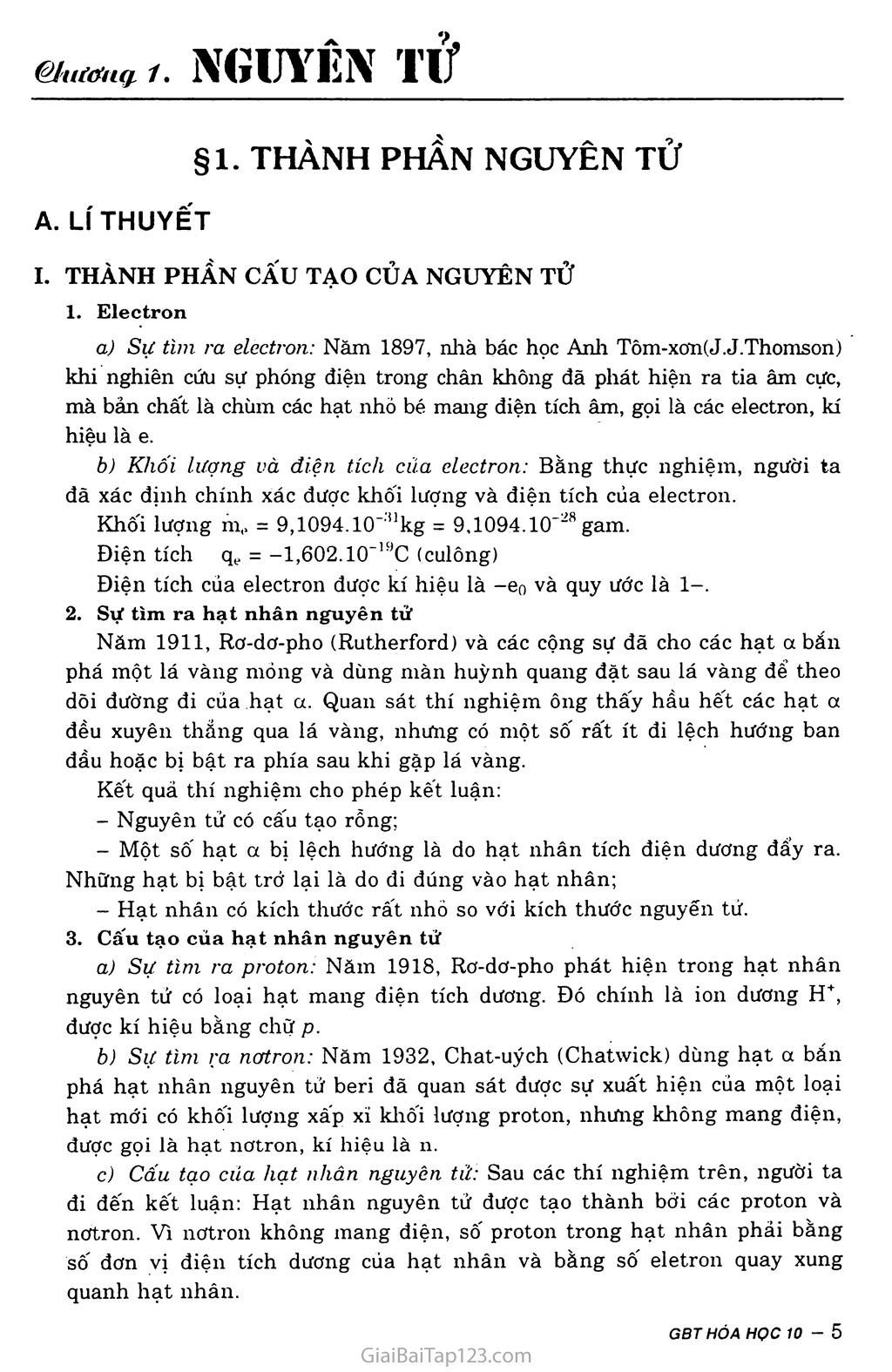 Bài 1: Thành phần nguyên tử trang 1