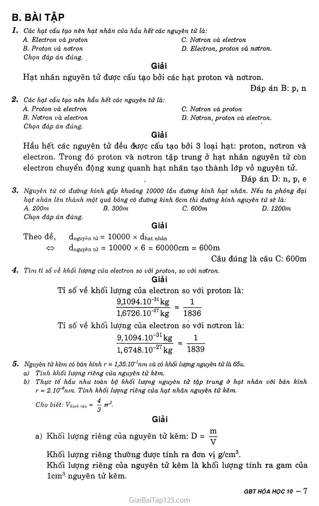 Bài 1: Thành phần nguyên tử trang 3