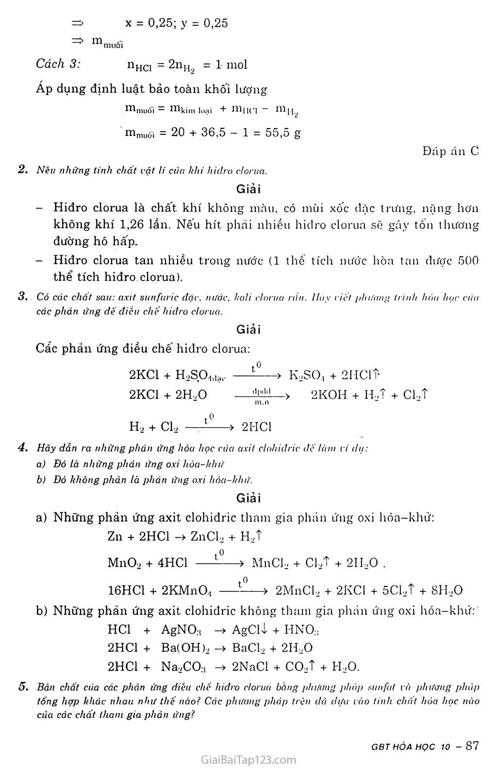 Bài 23: Hiđroclorua - Axit clohiđric và muối clorua trang 4