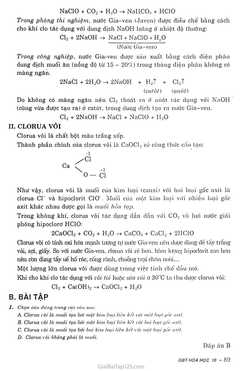 Bài 24: Sơ lược về hợp chất có oxi của clo trang 2