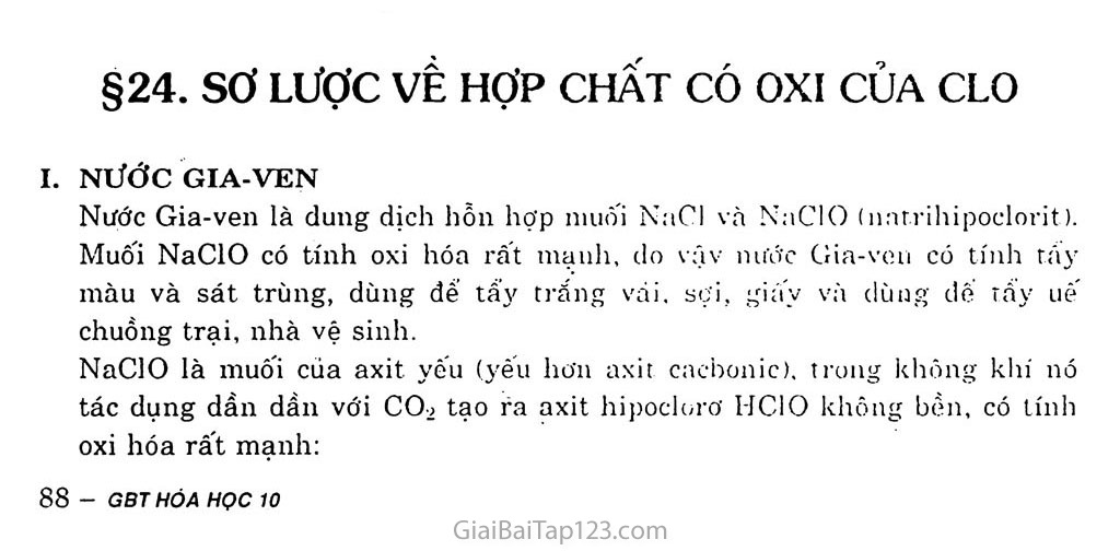 Bài 24: Sơ lược về hợp chất có oxi của clo trang 1