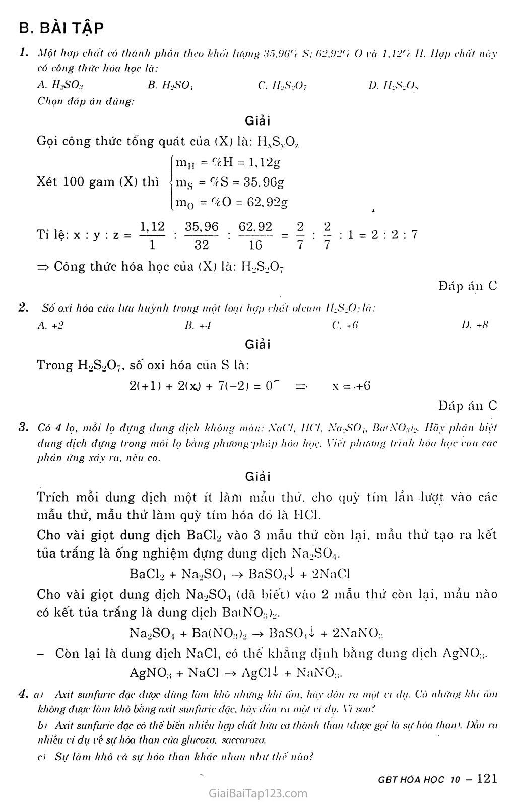 Bài 33: Axit sunfuric - Muối sunfat trang 3