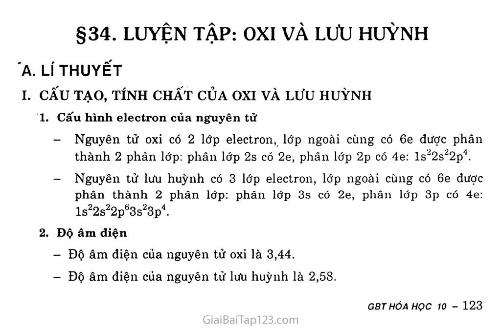 Bài 34: Luyện tập: Oxit và lưu huỳnh trang 1