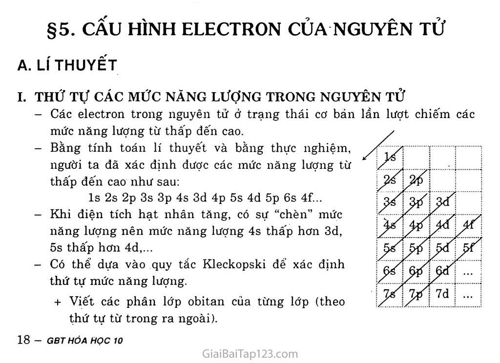 Bài 5: Cấu hình electron nguyên tử trang 1