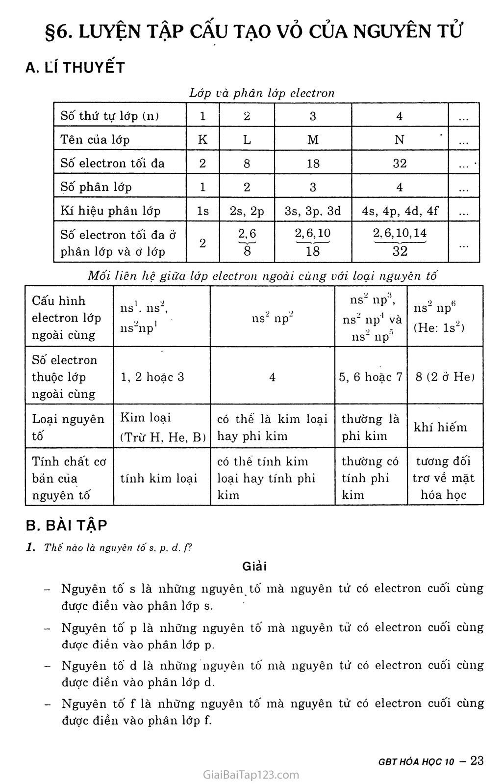 Bài 6: Luyện tập: Cấu tạo vỏ nguyên tử trang 1