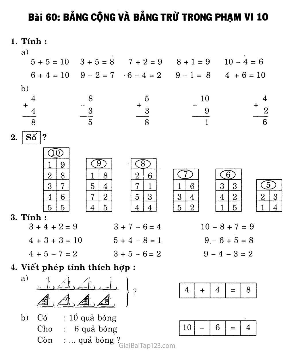 Bài 60: Bảng cộng và bảng trừ trong phạm vi 10 trang 1