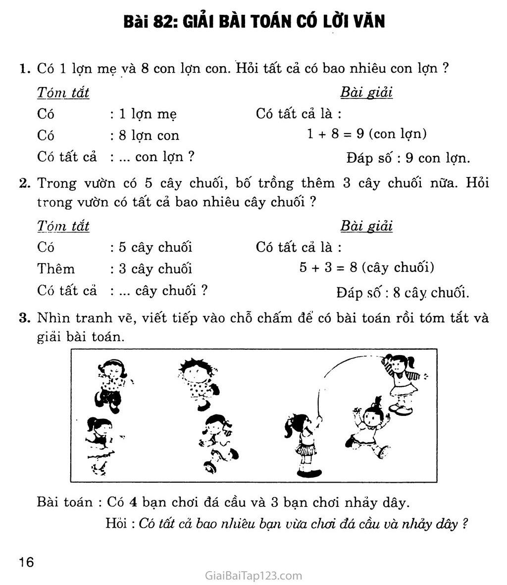 Bài 82: Giải bài toán có lời văn trang 1