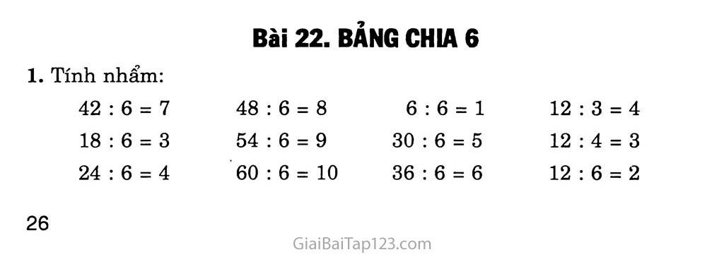Bài 22: Bảng chia 6 trang 1