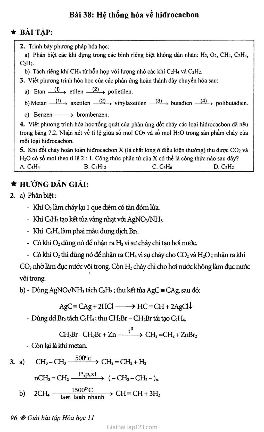 Bài 38: Hệ thống hóa về hiđrocacbon trang 1