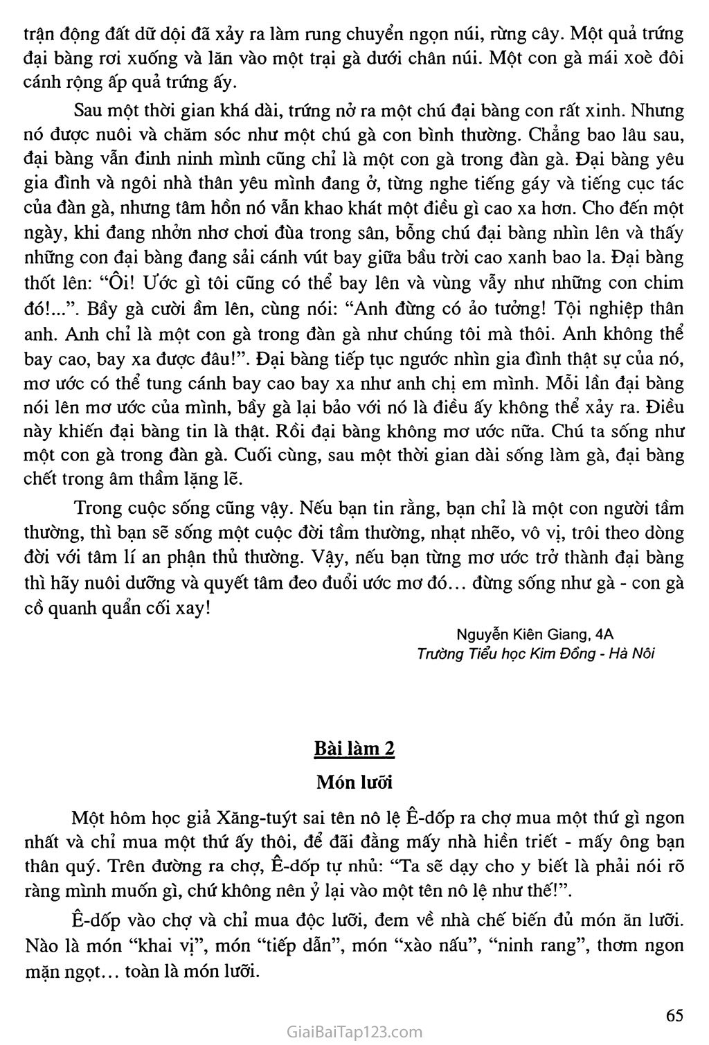 Bài 63: Kể lại một truyện ngụ ngôn hay, giàu ý nghĩa: Đại bàng và Gà trang 2