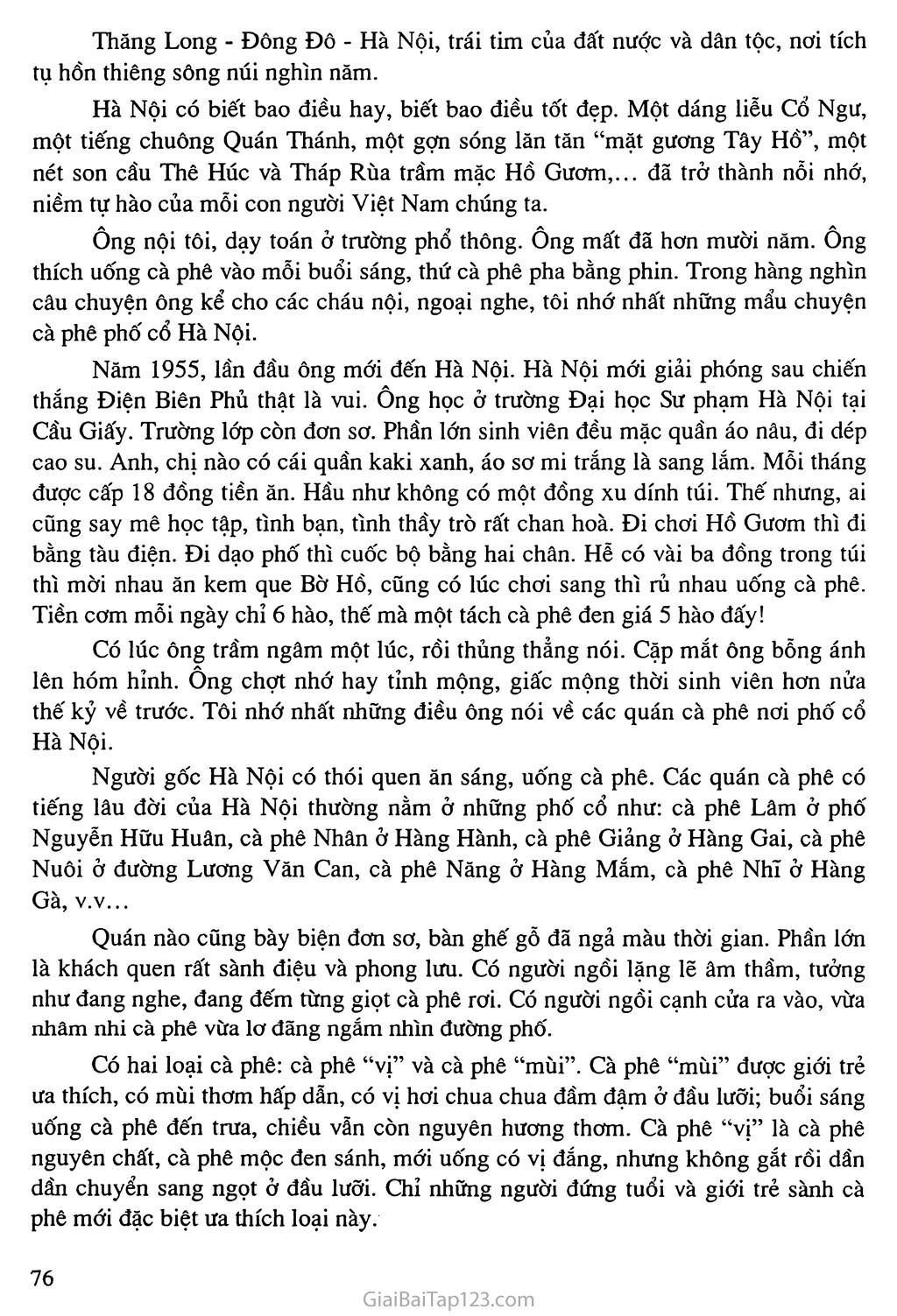Bài 71: Hãy kể lại một vài mẩu chuyện, một vài kỷ niệm về người thân yêu của em: Chuyện của ông tôi: Cà phê phố cổ Hà Nội trang 2