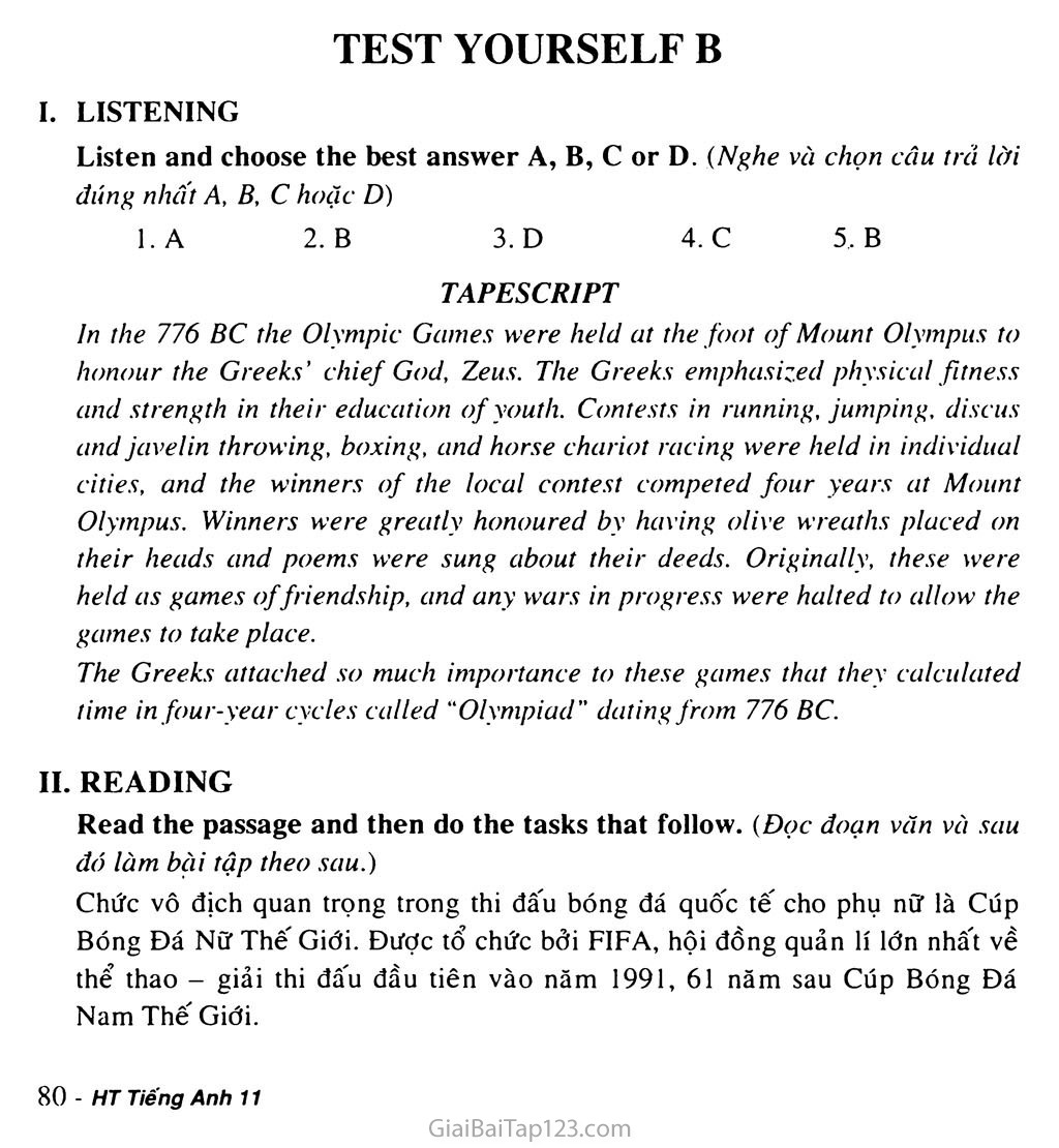 Test Yourself B trang 1
