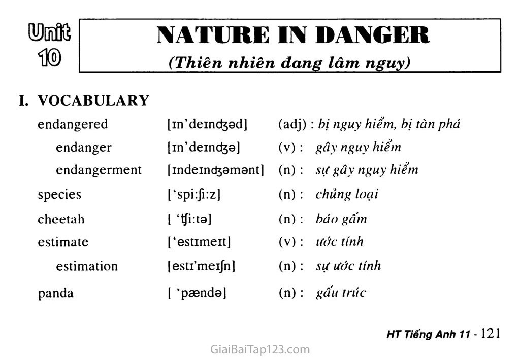 Unit 10: NATURE IN DANGER trang 1