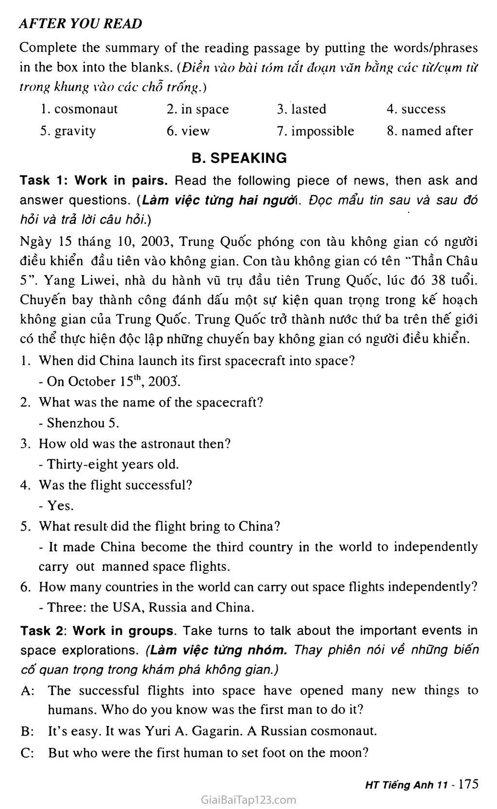 Unit 15: SPACE CONQUEST trang 8