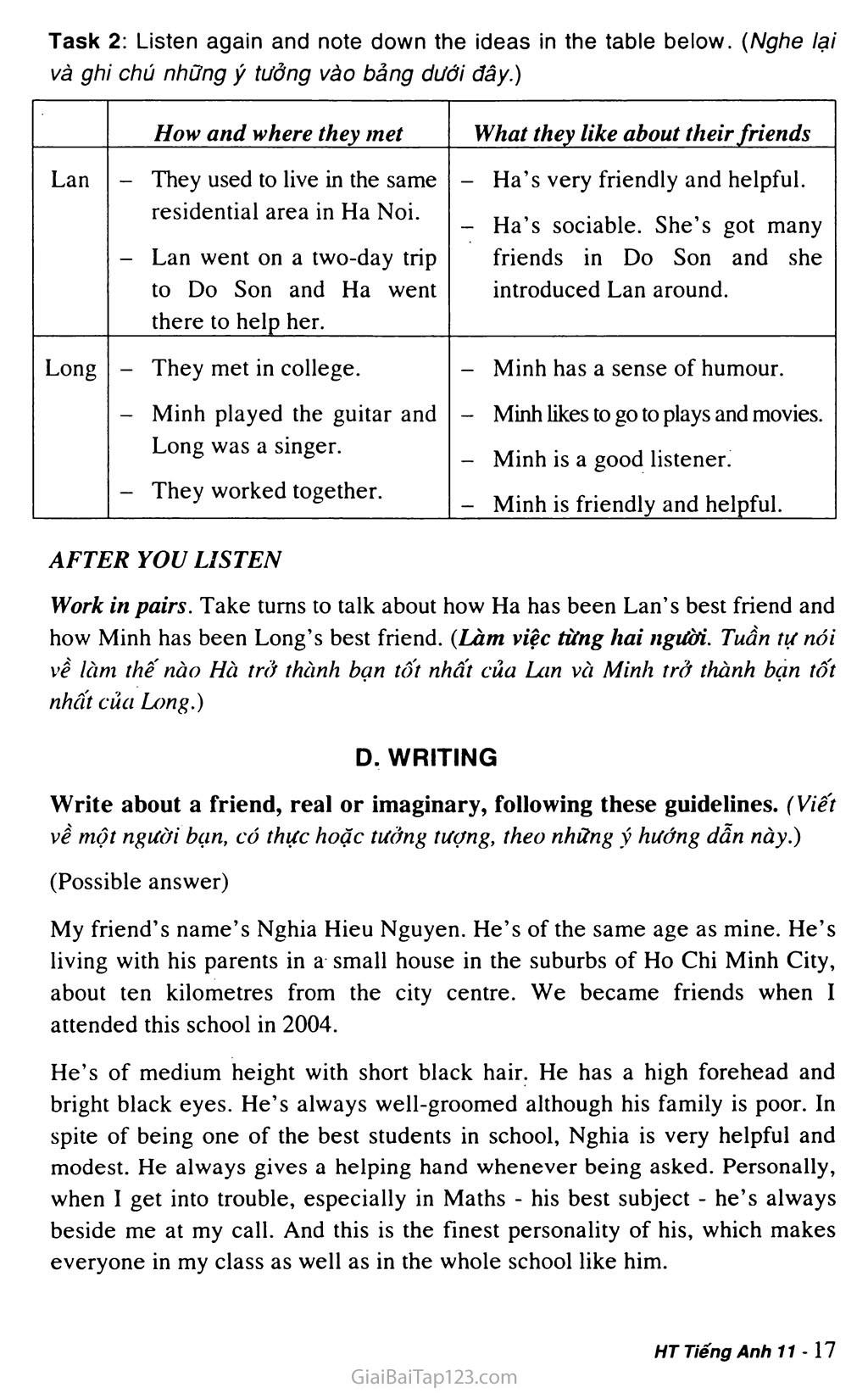 Unit 1: FRIENDSHIP trang 13