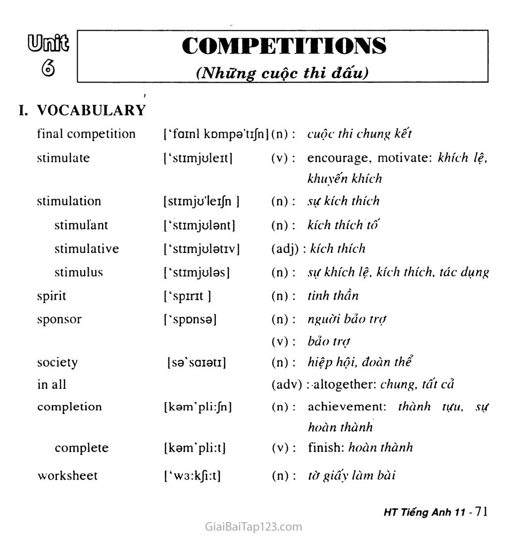 Unit 6: COMPETITIONS trang 1