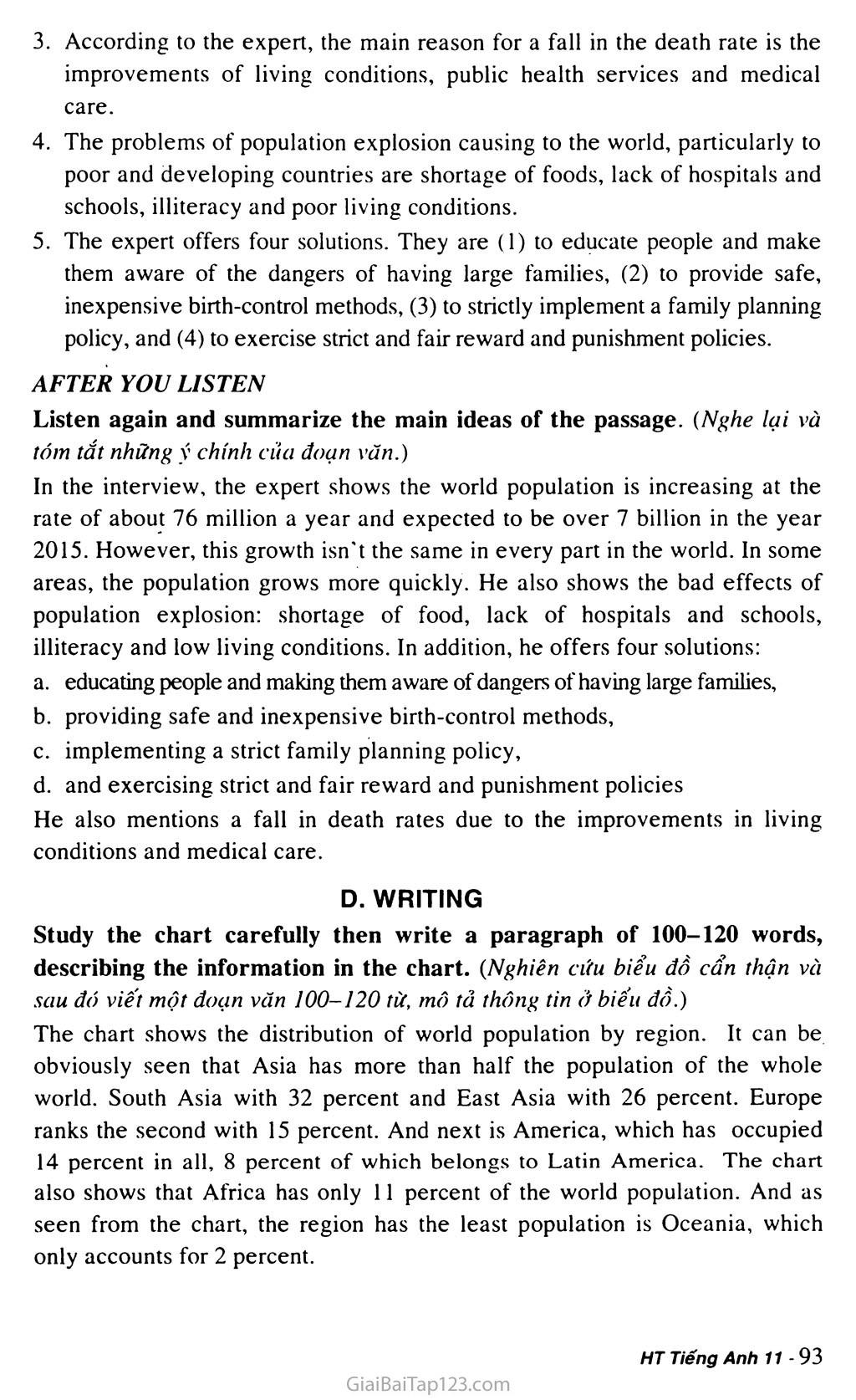 Unit 7: WORLD POPULATION trang 12