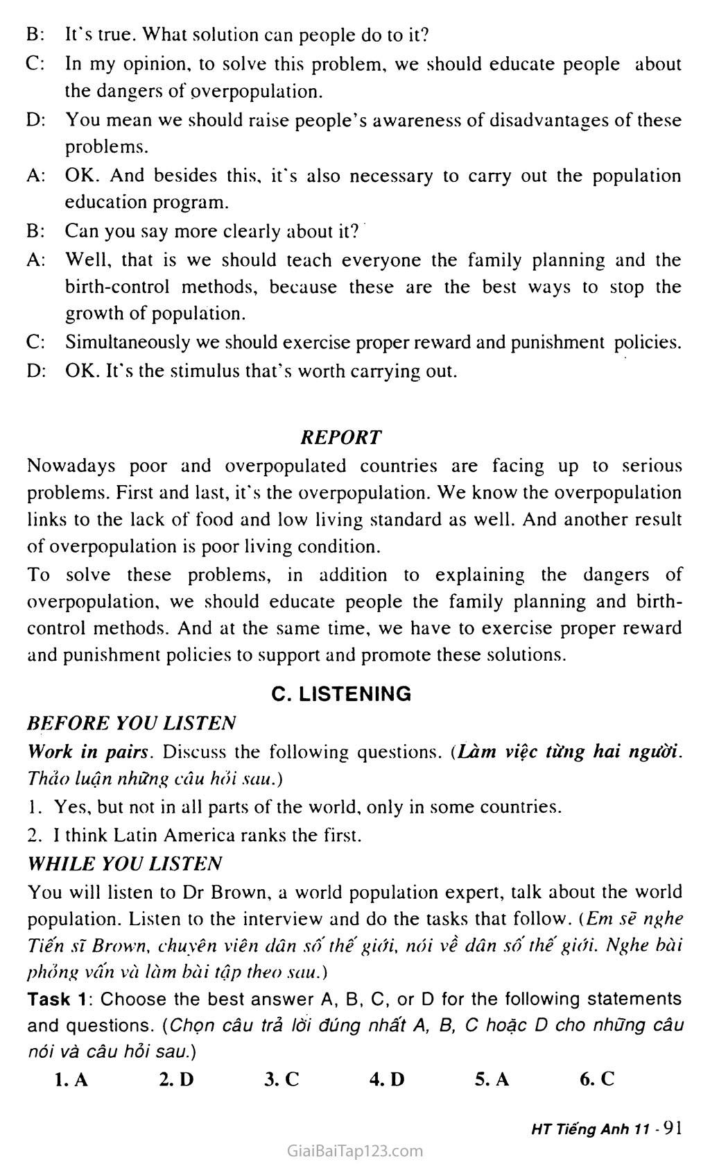 Unit 7: WORLD POPULATION trang 10