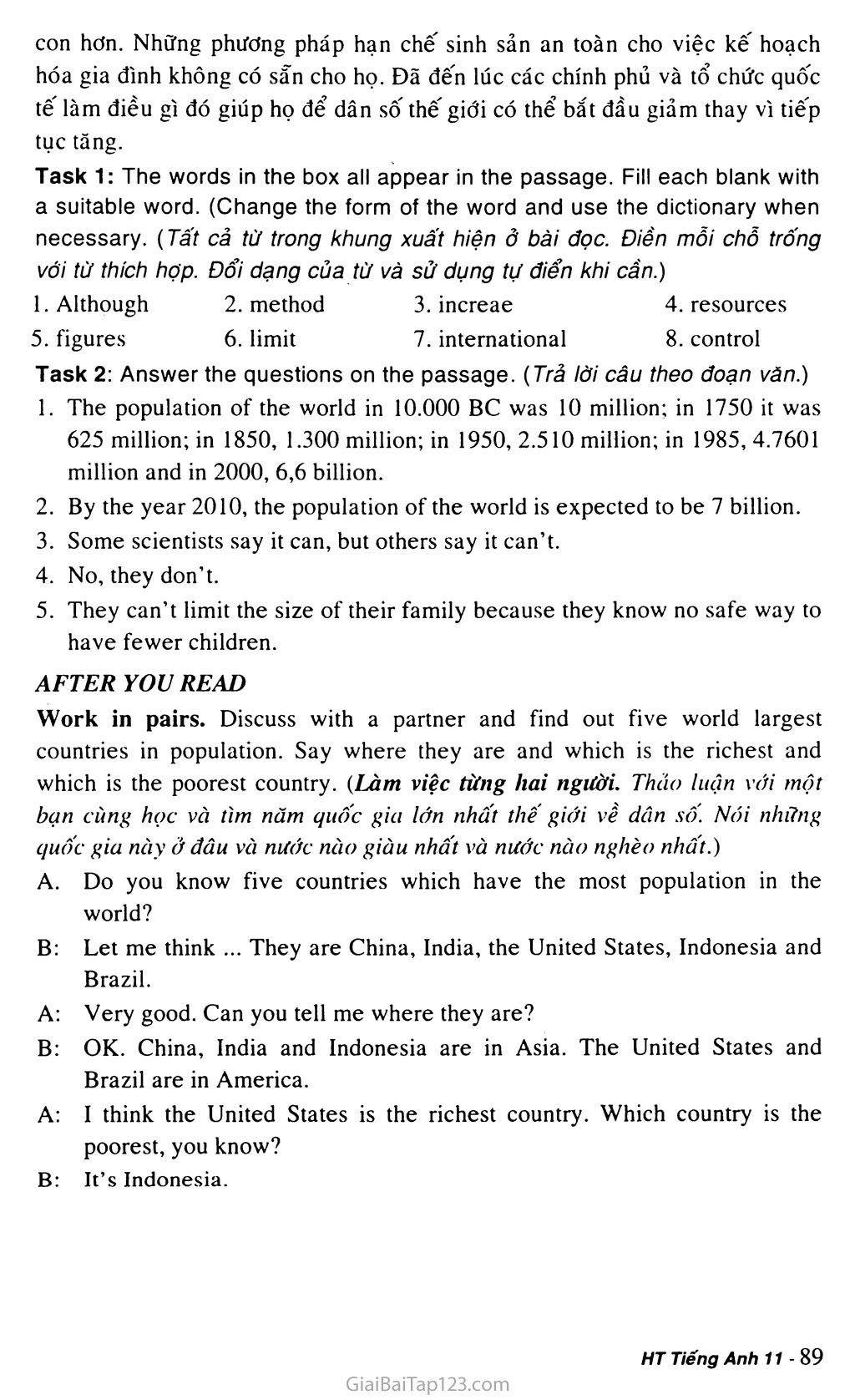 Unit 7: WORLD POPULATION trang 8