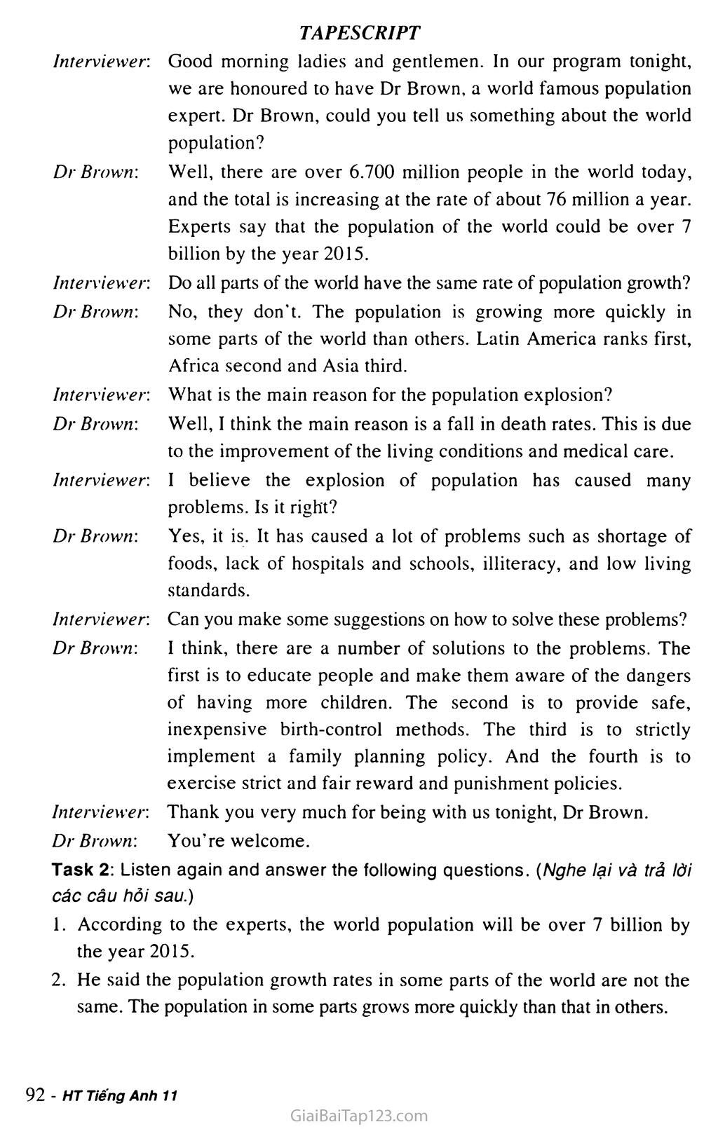 Unit 7: WORLD POPULATION trang 11
