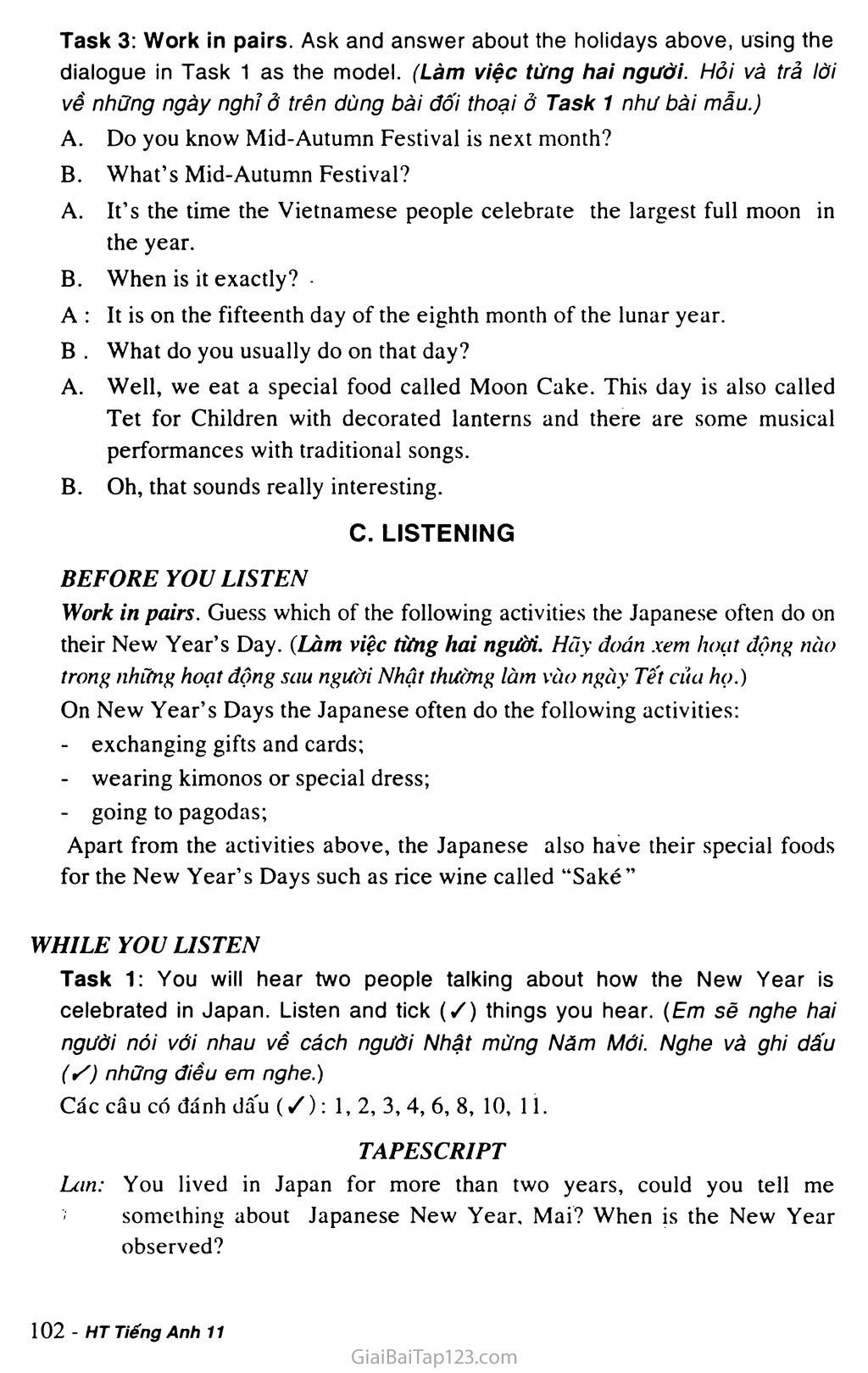 Unit 8: CELEBRATIONS trang 8