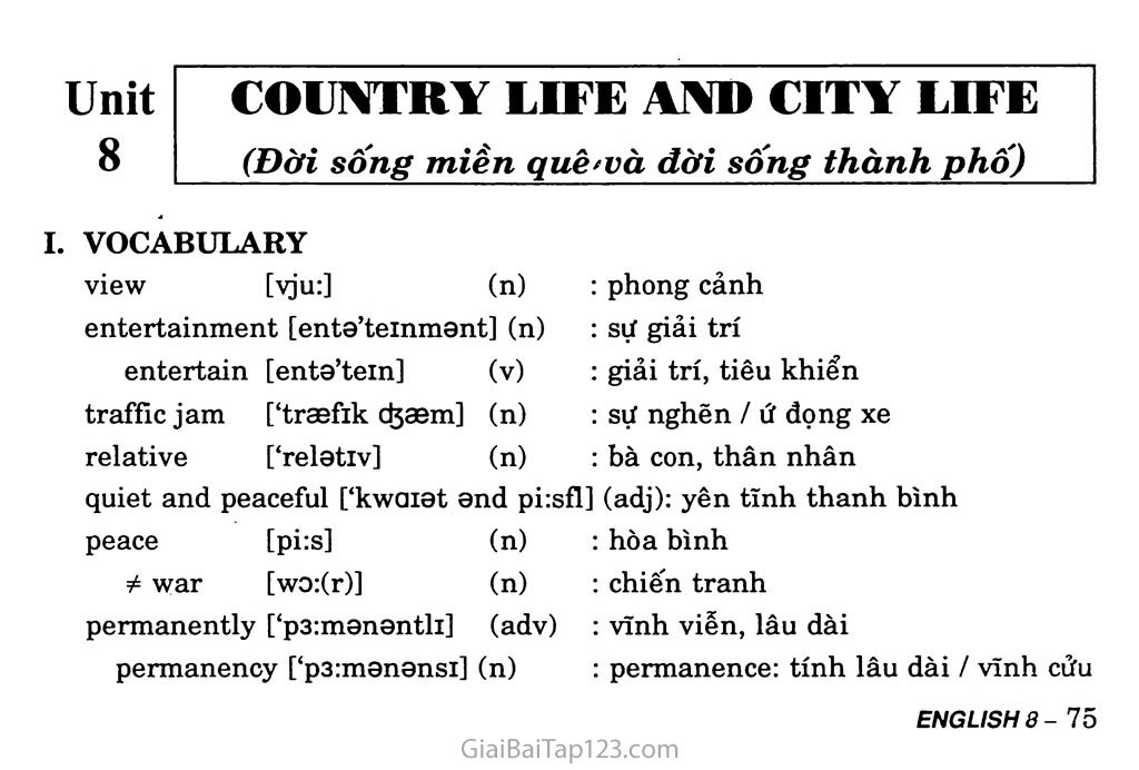 Unit 8: Country Life and City Life trang 1
