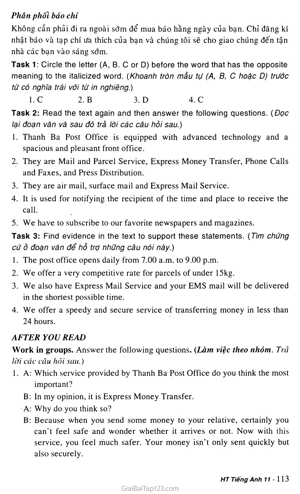 Unit 9: THE POST OFFICE trang 8