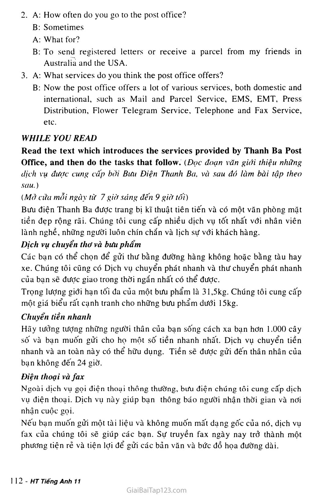Unit 9: THE POST OFFICE trang 7