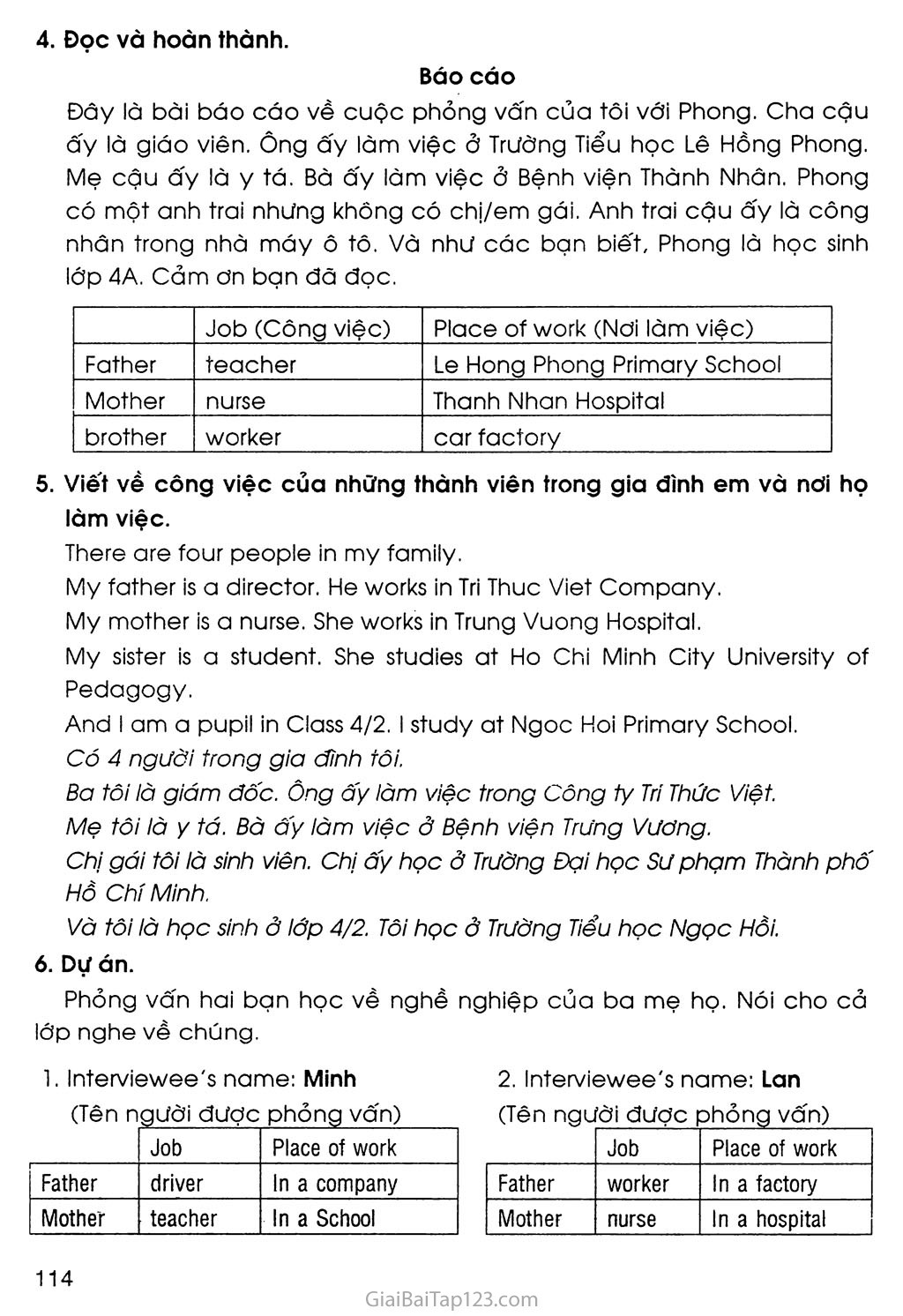 Giải tiếng Anh lớp 4 UNIT 12: WHAT DOES YOUR FATHER DO?