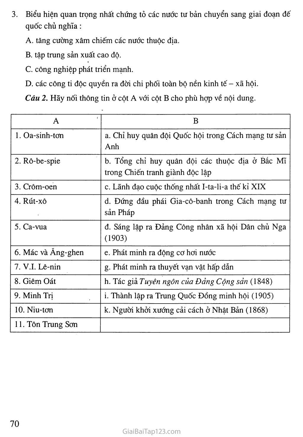 Bài 14: Ôn tập lịch sử thế giới cận đại (Từ giữa thế kỉ XVI đến năm 1917) trang 5