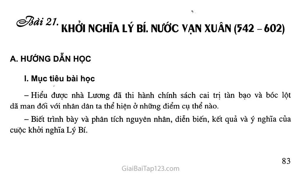 Bài 21: Khởi nghĩa Lý Bí. Nước Vạn Xuân (542 - 602) trang 1